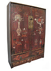 Chinese Small Antique Lacquered Cabinet with Flowers