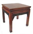 Chinese Small Antique Square Carved Table