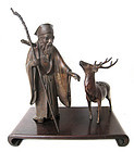 Japanese Bronze Figure of Jurojin with Deer