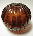 Chinese Amber Peking Glass Round Container