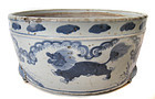 Chinese Antique Porcelain Censor with Fu-dogs