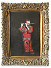 Chinese Oil Painting of Maiden Playing Flute by M Young