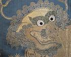 Antique Chinese 3 Piece Set: Gold Lion on Blue Silk