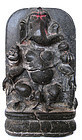 Indian Antique Black Schist Figure of Ganesha