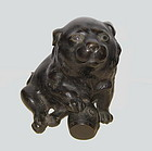 Antique Japanese Bronze Dog with Drum
