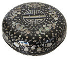 Antique Chinese Mother Of Pearl Inlay Black Lacquer Box