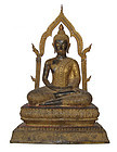 Antique Thai Bronze Gilt Buddha