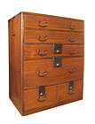 Japanese Antique Small Kiri Tansu with 6 Drawers