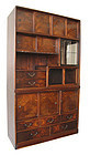 Japanese Antique 2-section Cha Tansu with Burl Wood