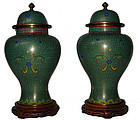 Antique Chinese Cloisonne pair of Vases