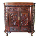Chinese Carved Hardwood Liquor Cabinet and Bar