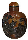 Chinese Agate Snuff Bottle with Monks