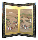 Japanese Antique Small Screen with Samurai