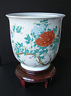 Chinese Antique Porcelain Planter with Peonies