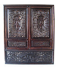 Chinese Antique Carved Lattice Window Shutters