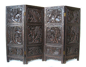 Chinese Carved 4 Panel Wooden Screen