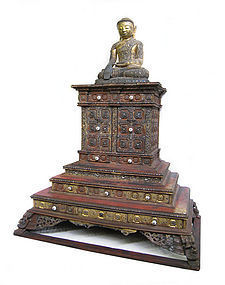 Large Antique Burmese Lacquer Temple Shrine