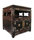 Chinese Rosewood Square Side Cabinet with Inlay