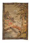 Japanese Antique Large Embroidery of Bridge and Temple