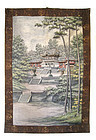 Japanese Antique Large Embroidery of Temple in Trees