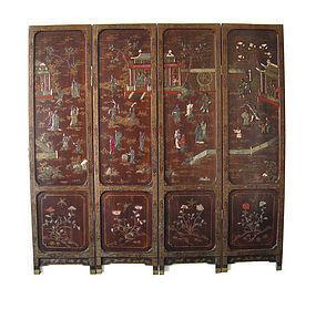 Chinese Antique 4 panel Coromandel Screen