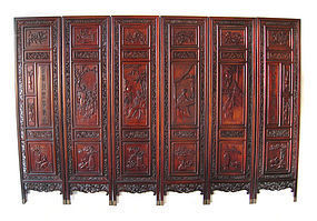 Chinese Antique Carved Wooden Screen with Beauties