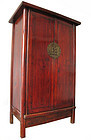 Chinese Hardwood Tall Deep Red Cabinet