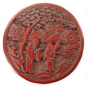 Chinese Antique Small Round Cinnabar box