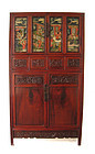 Chinese Antique Cabinet with Reverse Painted Glass