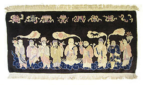 Chinese Antique Rug with 9 Celestial Figures