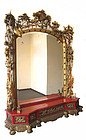 Chinese Antique Large Mirror and Carved Stand