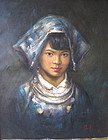 Chinese Oil Painting of Girl attributed to Zheng Li