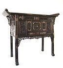 Chinese Antique Carved and Inlaid Altar Cabinet