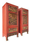 Chinese Pair of Red Cabinets with 19th century Carving