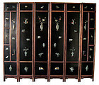 Chinese Antique Hardwood Screen with Jade Inlay
