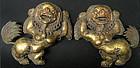 Pair of Antique Gilt Copper Repouse Himalayan Snowlions