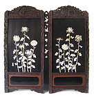 Japanese Antique Large Lacquer Screen with Carved Inlay