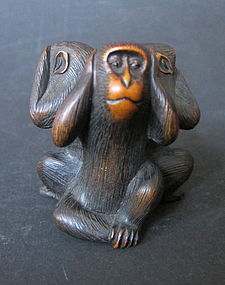 Antique Japanese Okimono of Monkeys