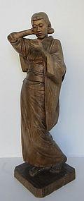 Japanese Sculpture of a Lady by Owa Sakunai