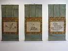 Antique Japanese Triptych Scroll by Sesson Shukei