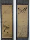 Antique Diptych of Geese by Kano Dohaku Chikanobu