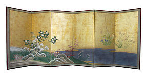 Japanese Antique 6 panel Screen Painting with Flowers