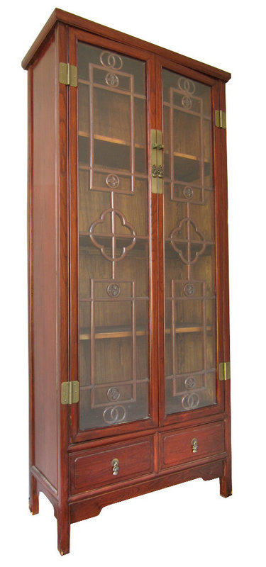 Chinese Contemporary Tall Glass Cabinet