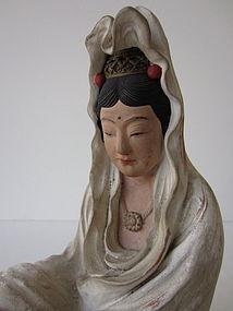 Antique Japanese Kwan Yin Figure Rengetsu Studio