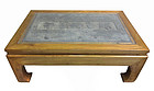 Chinese Jumu Wood Low Table with Carved Stone Inset