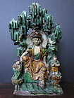 Chinese Ming Dynasty Sancai Glazed Guanyin in Grotto