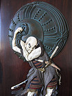 Japanese Antique Inlaid Plaque of Benkei with Bell