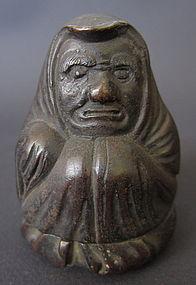 Japanese Antique Bronze Daruma Seal Box