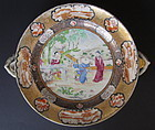 Rare antique Chinese famille rose export dish warmer