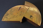 Japanese Antique Fan Shaped Lacquer Kogo Box